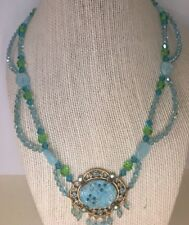 ANNE KOPLIK STUNNING ! Signed Faux Turquoise and Swarovski Crystal Necklace