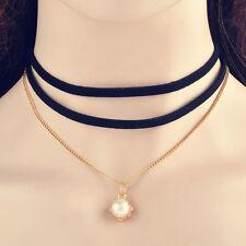 pear Pendant Charm Black Three layer velvet rivet bead Choker gold Necklace