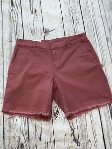 STYLE & CO Chino Cotton Mid Rise Fringed Hem Shorts sz 8 Pink-Red Casual $52
