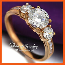 Simulated Diamond Rose Gold Three-Stone Engagement Rings