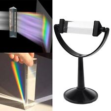 Rainbow Optical Glass Triple Triangular Prism Physics Teaching +Bracket Base