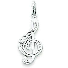 14K White Gold Polished Musical Treble Clef Fashion Charm Pendant For Necklace