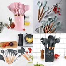 12pcs Silicone Kitchenware Set Non-stick Wood Handle Soup Spoon with Storage Box
