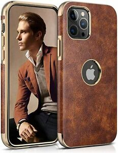 For iPhone 12 Pro Max Luxury Leather Case Non-Slip Grip Anti-Scratch Thin Slim