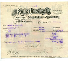 Illustrated Billhead RUTLAND FIRE CLAY 1919 Color Advert on Back all products