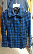 H&M shop Plaid Lumberjack Peacoat Coat Jacket Top Sz 6-8 EUR 38 urban outfitters