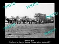 OLD POSTCARD SIZE PHOTO OF WYANDRA QLD WOOL BALES AT THE RAILWAY STATION 1897