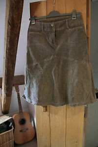 'Next' Ladies Mid Length Cotton / Lycra / Corduroy Stone/ Beige  Skirt Size 12