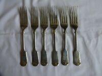 Antique Dinner Forks 195mm Fiddle Pattern Nevada Silver Daniel & Arter Sheffield