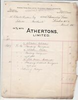 Athertons Ltd London Probate Experts 1918 Monthly Statement & Receipt Ref 36090