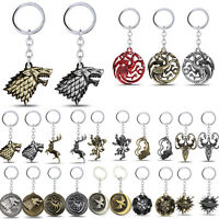 Game of Thrones House Stark Lannister Targaryen Keychains Metal Key Ring Gifts