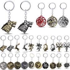 Game of Thrones House Stark Lannister Targaryen Keychains Metal Key Ring Gifts