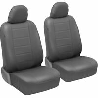 carXS UltraLuxe Faux Leather Front Car Seat Covers in Gray