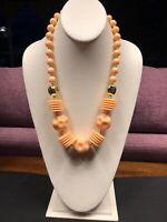 Vintage Peach Lucite Large Beaded Single Strand  Beaded Bib Statement Necklace