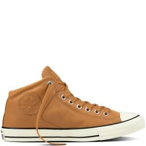 Converse Mens Chuck Taylor All Star High Street Brown Leather Lace Up Trainers