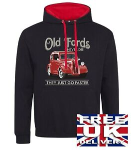 Classic Ford Pop Anglia Hooded Top Hot Rod Vintage Red Car Petrol Head Hoodie
