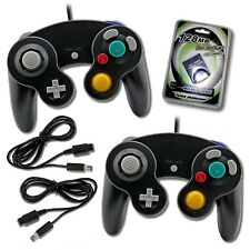 2 Black Game Cube Controllers with Extention BLack + 2 extention + Memory