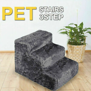 3 Steps Portable Pet Soft Plush Ladder Dog Cat Stairs Ramp Washable Cover New