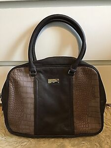 Camomilla Milano Faux Leather Shoulder Bag Large Brown Crocodile Effect Free P&P