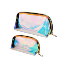 2pcs Makeup Bag Iridescent Holographic Clear Cosmetic Bag Large Capacity Pouch