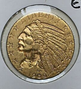 1909-D $5 FIVE DOLLAR GOLD INDIAN HALF EAGLE COIN - XF EXTRA FINE