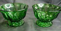 Vintage Anchor Hocking 2 Emerald Green Glass Thumbprint Pedestal Bowl Candy Dish