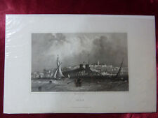 More details for antique engraving view of ryde, isle of wight c1830 veduta rare art print (#1)
