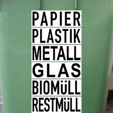 Set 6 Aufkleber 20cm Papier Plastik Metall Glas Bio Rest Müll Abfall Trennung