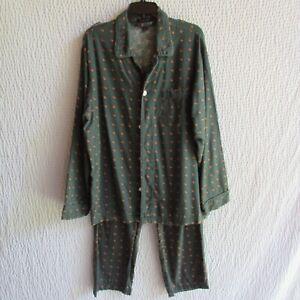 Lands End Mens Pajamas Pheasant Print Flannel Matching Set Top Pants Green M