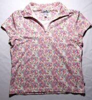 Ashworth Womens Golf Shirt Short Sleeve Collared Flowers Floral Pink Print Large