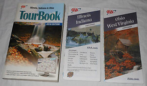 AAA Illinois Indiana Ohio Tour Book 2010 IL IN OH WV Maps Travel Guide Hotel