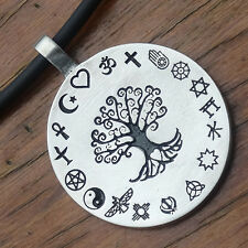 Coexist Tree of life World's religions Pagan Detail Pendant W Black PVC Necklace
