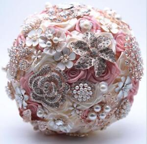 Handmade Wedding Bouquet Satin Flowers Rhinestones Pearls Silk Roses Bouquets