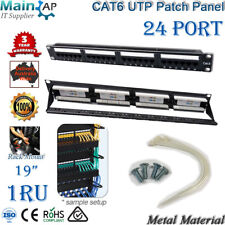 "CAT6 UTP 19"" 19 inch 24 PORT PATCH PANEL DUAL USE IDC  WITH BACK BAR SHIELDED"