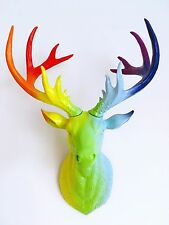 LARGE Unique decoration Stag Head Taxidermy Deer 'Rainbow'