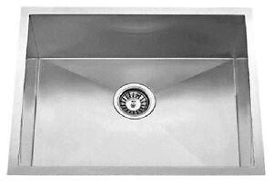 "22""x18"" Single Bowl Undermount Stainless Steel Kitchen Sink Zero Radius"