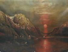 Fjordlandschaft in Norwegen Romantik Ölgemälde von 1867 Signatur H.Klewitz Fjord