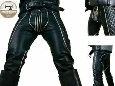 Men's Real Leather Pant Punk Jeans Trousers BLUF Pants Bikers Breeches Pant