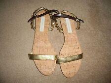 RRP £265 STELLA McCARTNEY JODIE Gold Crystal Jewel  Flat Sandals Shoes size 41