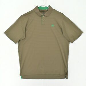 adidas Polo Shirt Adult Large Brown Lightweight Golf Green Spelled Out Logo
