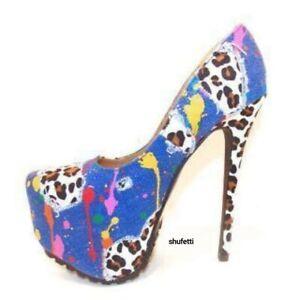 "Shufetti Corinthia Cobalt Pump Prom Shoe 2"" platform 6"" Heel"