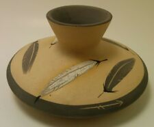 Vintage Desert Pueblo Pottery Grey Feather 1986 Seed Pot