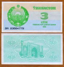 Uzbekistan, 3 Sum, 1992 (1993), P-62, UNC