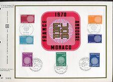 DOCUMENT CEF PREMIER JOUR  1970  TIMBRE N° 1637 - 1638  EUROPA ANDORRE  MONACO