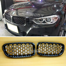 Chrome Black FOR BMW F30 F31 320i Diamond Look Front Kidney Hood Grille 12-18