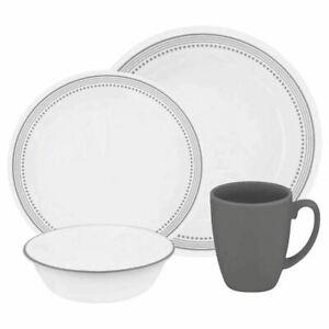Corelle Livingware Mystic Gray 16-Pc Dinnerware Set Service for 4