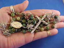 Custom Indian Agate ROSARY St KATERI TEKAKWITHA Lilly of the MOHAWKS TURTLES