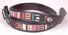 """Vtg NOCONA Belt-Hand Woven Indian Blanket-Black-44""""-No Buckle-Cowhide-A 621"""
