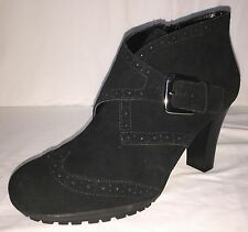 AEROSOLES Mentor Black Suede Leather Buckled Ankle Boots Shoes Womens Size 9 M