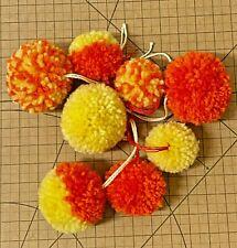 Wool-Yarn-Pom Pom-8x Pompom-Handmade-Orange & Yellow-Crafts